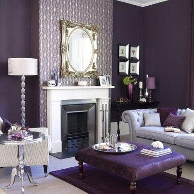 Purple Living Room  purple walls paint color, white fireplace, purple ottoman, gray ...
