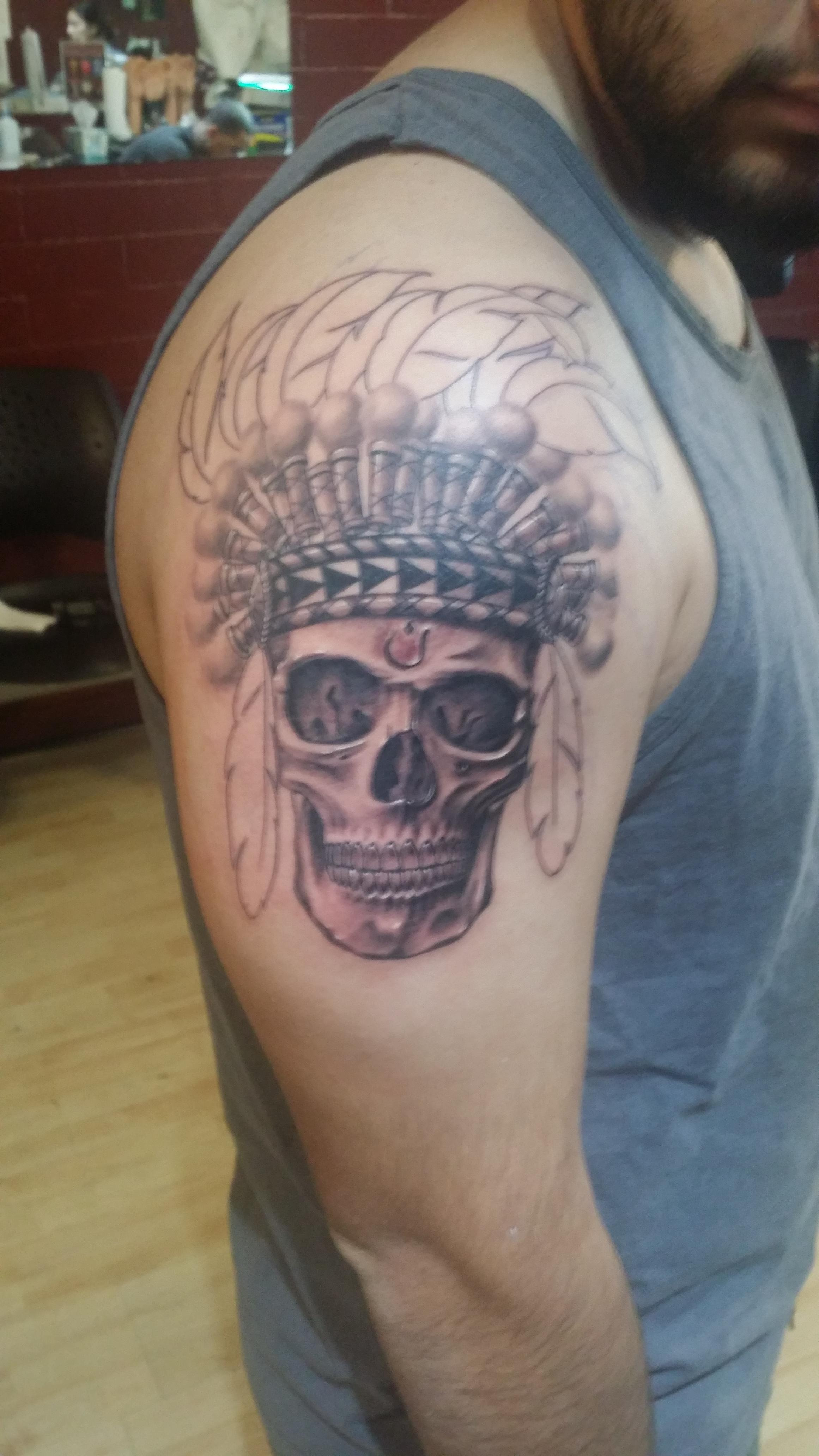 Starting My Aztec Inspired Sleeve By Ridge Young At Metro Ink