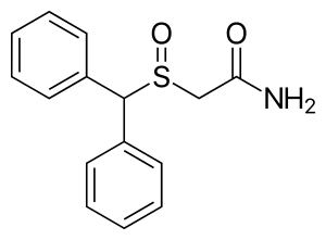 Chemical structure of Modafinil.