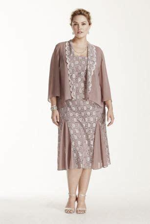 Tea Length Lace Jacket Dress with 3/4 Sleeves   David's Bridal