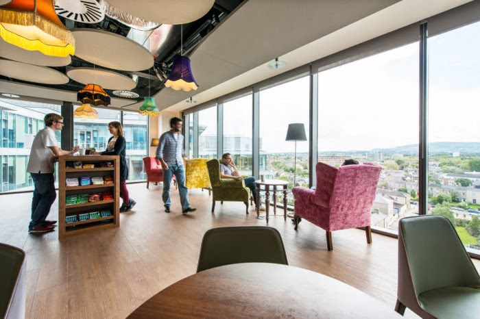 The Dublin skyline and brilliant blue Irish skies are welcomed indoors with expansive use of windows throughout the complex.