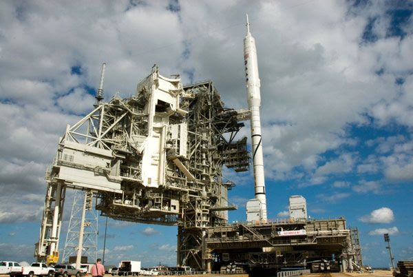 The ARES I-X rocket arrives at Launch Complex 39B at NASA's Kennedy Space Center in Florida, on October 20, 2009.