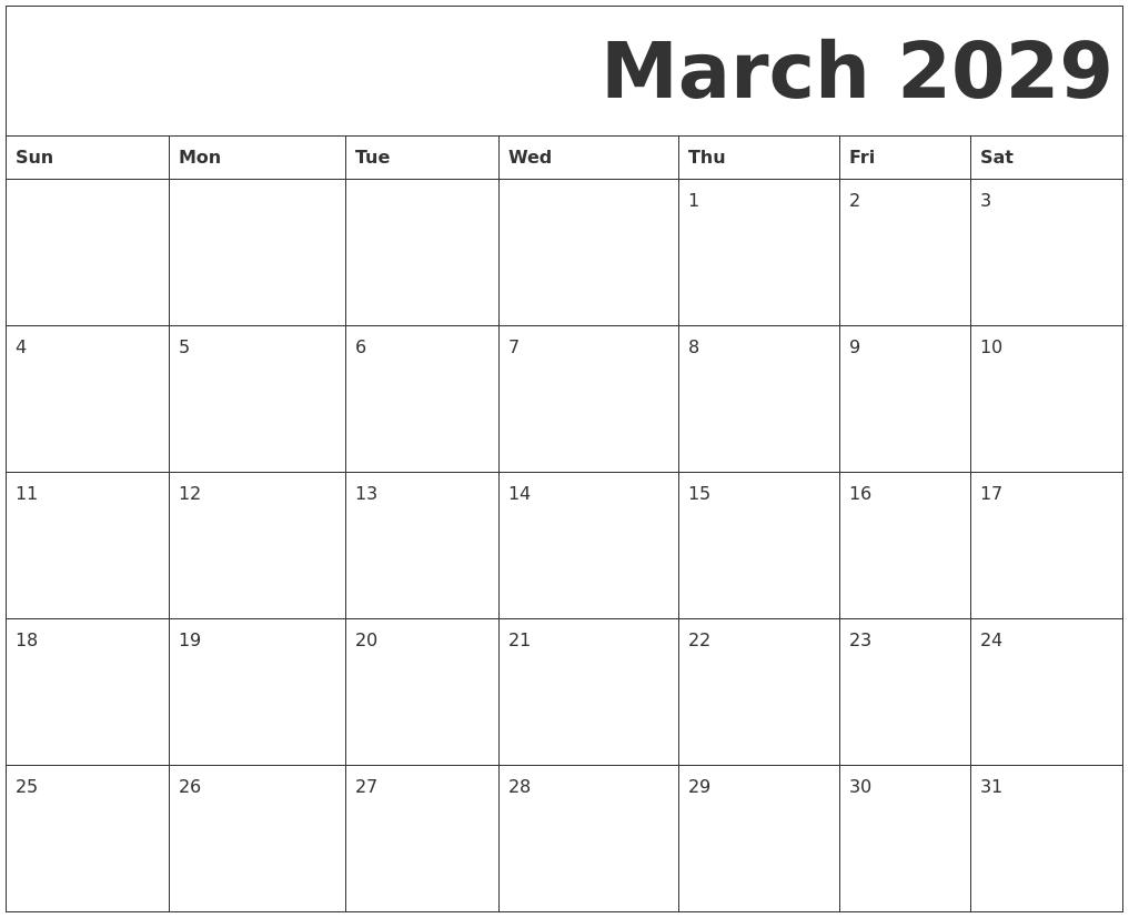 march 2029 free printable calendar