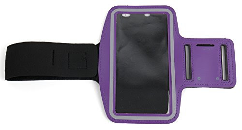 Premium Quality Unisex Sports Armband in Purple - Compatible with Razer Phone - by DURAGADGET