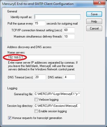 Mercury 32 SMTP Client Configuration