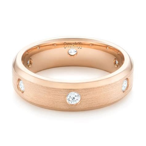 Custom Rose Gold Diamond Men's Wedding Band #102874