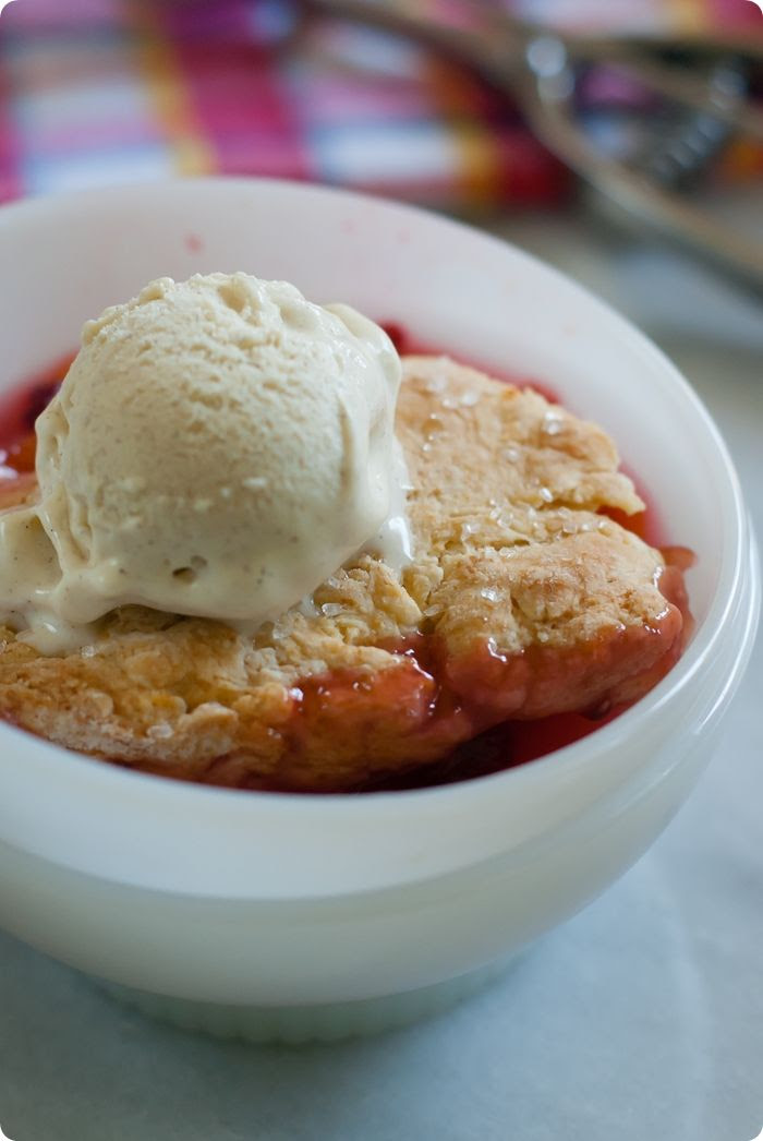 stone fruit and raspberry cobbler