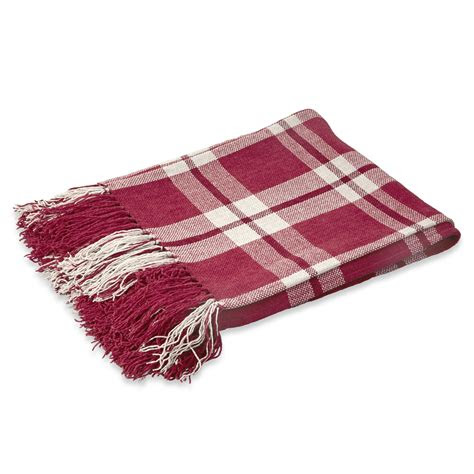 margo red check cotton mix throw    home