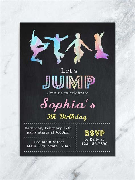 Jump Birthday Invitation, Jump Tumble and Play Birthday