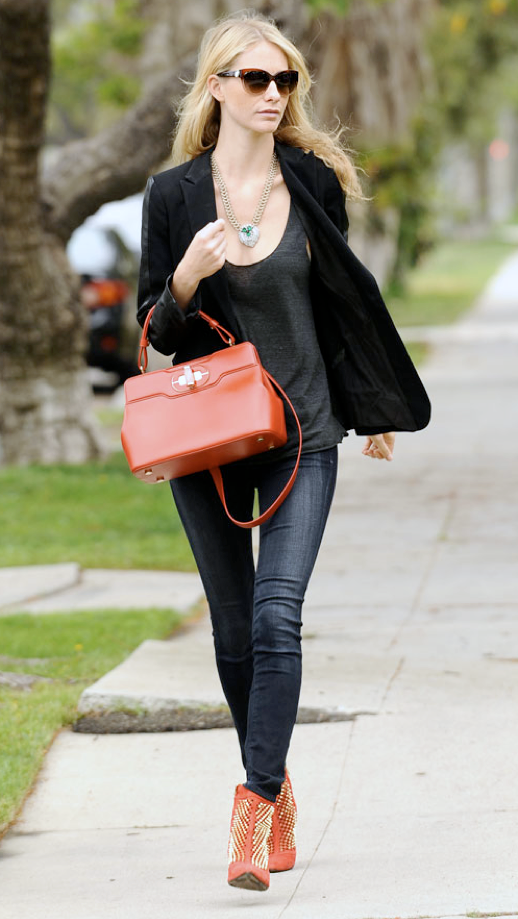 LE FASHION BLOG STREET STYLE POPPY DELEVINGNE RED HOT CAT EYE SUNGLASSES GREEN JEWELED GEM CHAIN NECKLACE LEATHER TRIMMED ACCENT SLEEVE BLAZER JACKET SHEER GREY GRAY TANK TOP SKINNY DARK WASH JEANS DENIM RED STUDDED ZARA ANKLE BOOTS RED TOP HANDLE TURN LOCK SATCHEL BAG