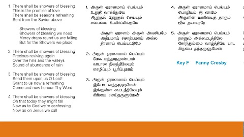 There Shall Be Showers Of Blessing Lyrics In Tamil