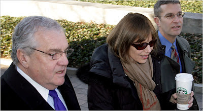 Judith Miller arrives to testify in the Scooter Libby trial