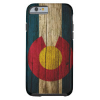 Colorado Flag rustic wood Tough iPhone 6 Case