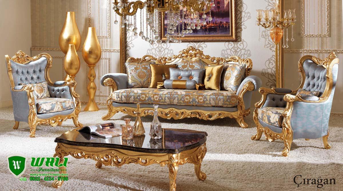 Set Sofa Ruang Tamu Klasik  Ukiran Duco Emas Mewah Wali