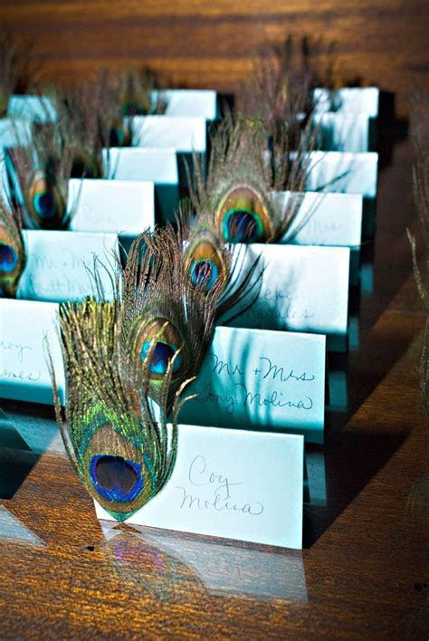 Peacock escort cards from a Chic Productions Wedding