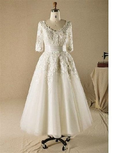 Tea length Wedding Dress 3/4 sleeve Lace Bridal gown A