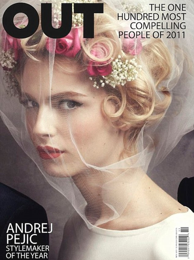 Gay and lesbian magazine Out named Pejic 'stylemaker of the year' putting him on its cover wearing a bridal veil and flowers in his hair