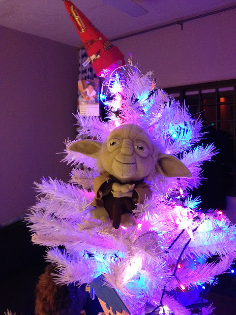 It's that time of year again when we put Yoda up in a tree