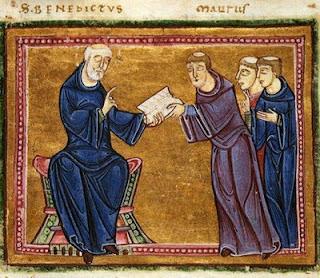São Bento entrega a Regra a São Mauro, Glória da Idade Média