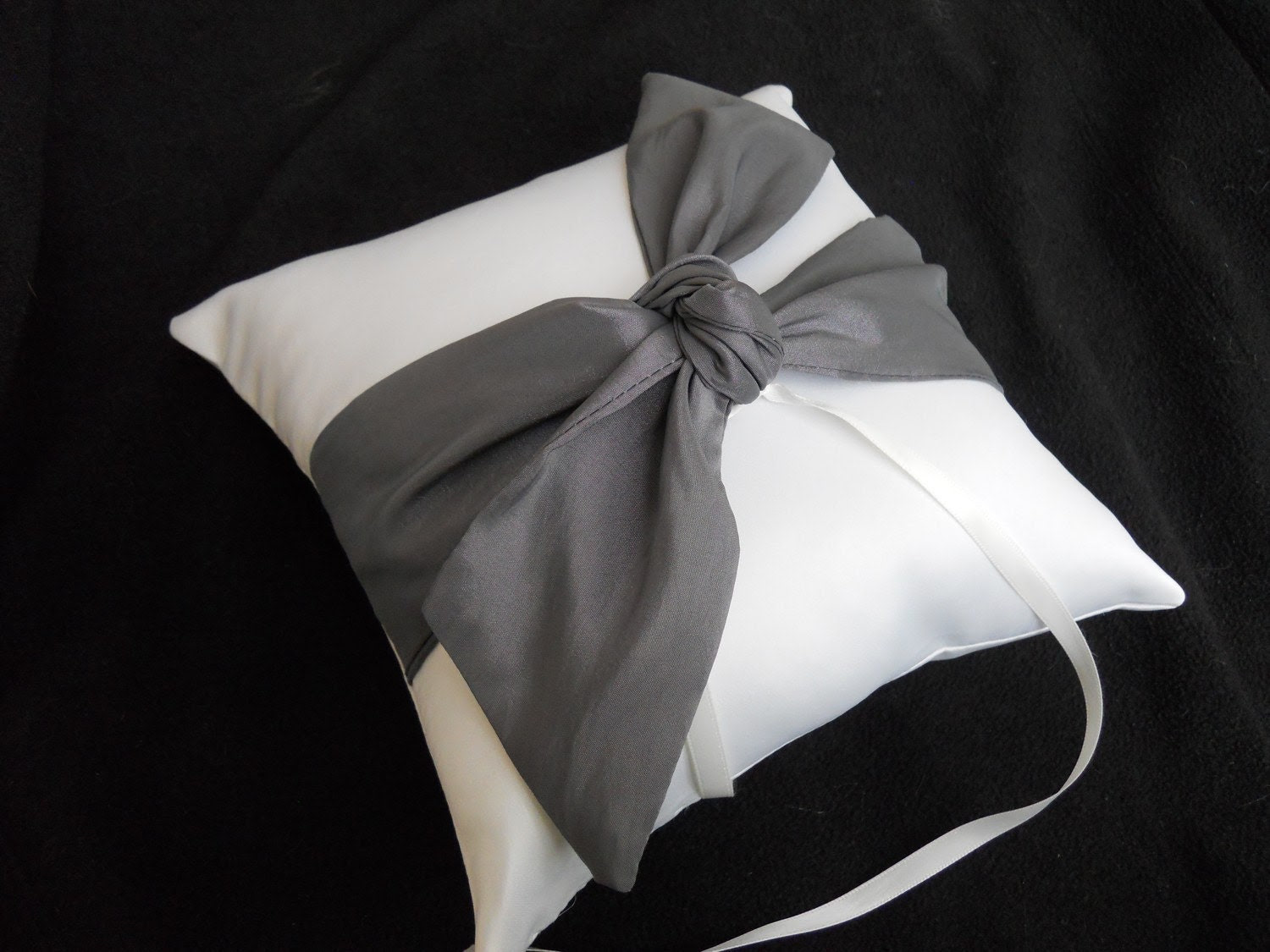 Tie the Knot Wedding Ring Bearer Pillow in  Ivory and Charcoal grey
