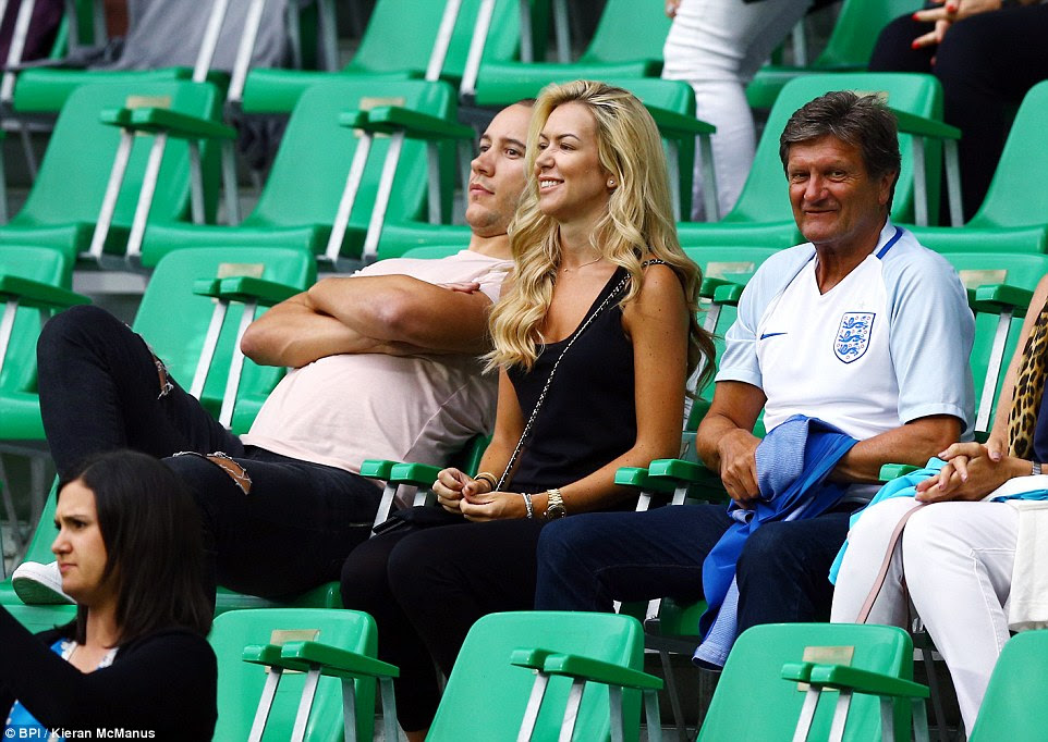Joe Hart's wife Kimberley Crew is also snapped in the stands as the two teams prepare for the encounter in Group B at Euro 2016