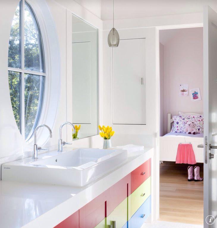 Contemporary Kids Bathroom with Kids bathroom, Flush, Vessel sink, European Cabinets, Built-in bookshelf, specialty door