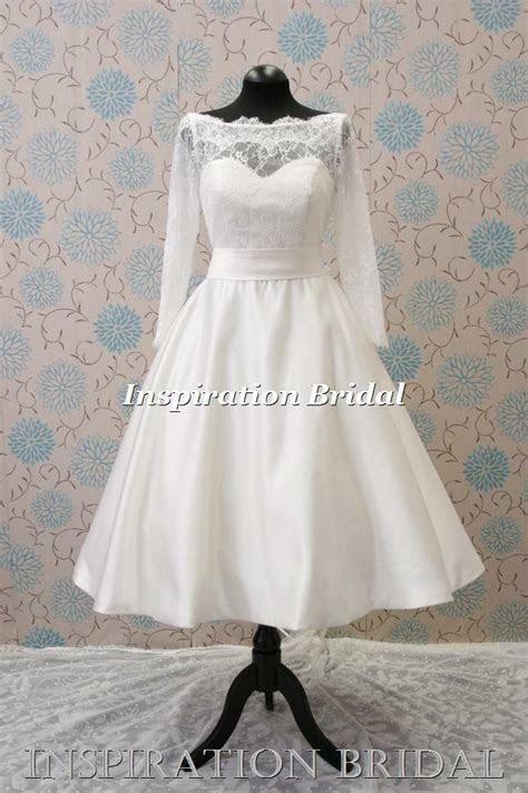 uk  retro short tea length knee sleeved lace wedding