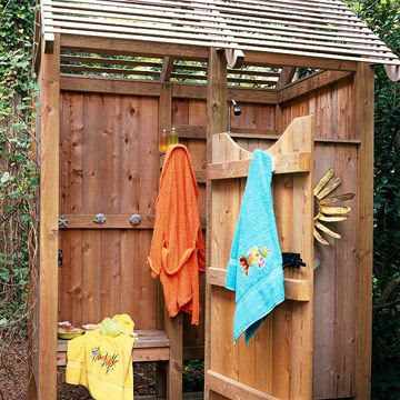 Backyard Landscaping Ideas Garden Structure Shower Structure: After a hot afternoon of gardening or for an après pool rinse off, nothing beats a cool shower. This outdoor shower is made from weather-resistant cedar and features wrought-iron hardware. A scalloped door opens to the changing area.