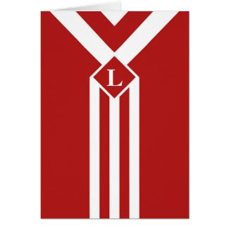 White Stripes and Chevrons on Red with Monogram Greeting Card