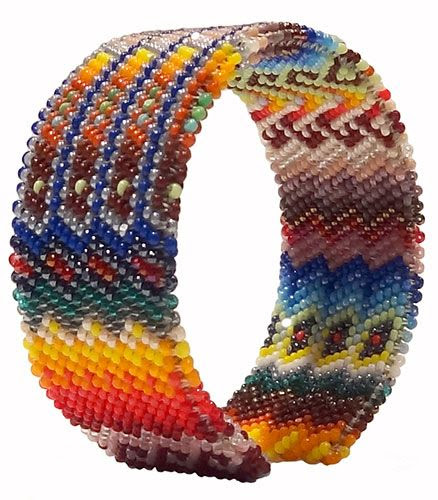 "#Lakota Sioux #Beaded ""Peyote Stitch"" Bracelet: Small -"