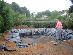 Filter bed dug out and lined with polythene