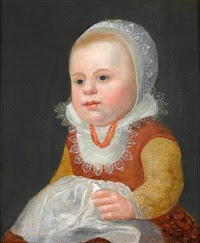 portrait of a young girl, half-length, in a red dress with a white lace collar and cap by adriaen van der linde