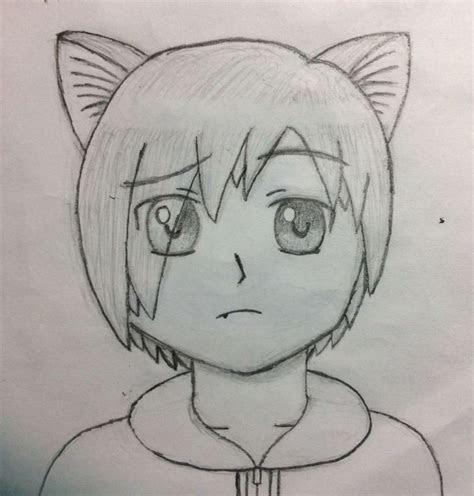 anime drawings boy  masaru kon cat ears