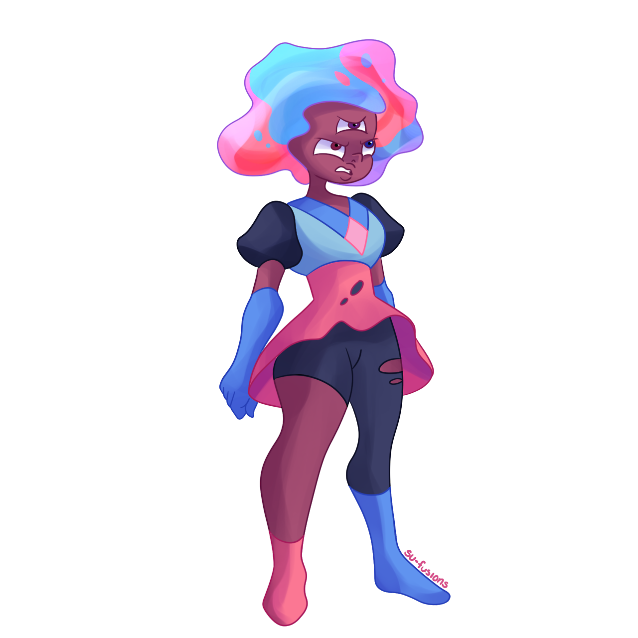 A bunch of Garnets :0 What would happen if each of the members of the ruby squad fused individually with blue sapphire? Try and guess which ruby fused with sapphire!