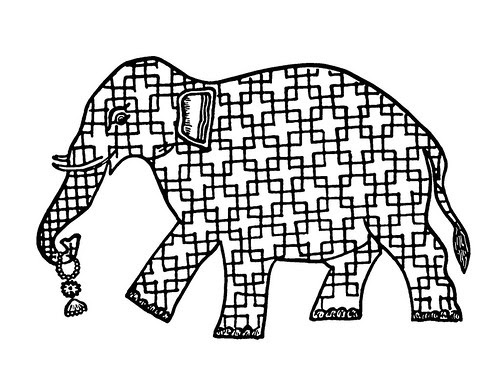 Indian Designs c - elephant made out of line drawn symbol