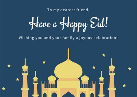 Blue and Yellow Moon and Stars Eid al Fitr Card