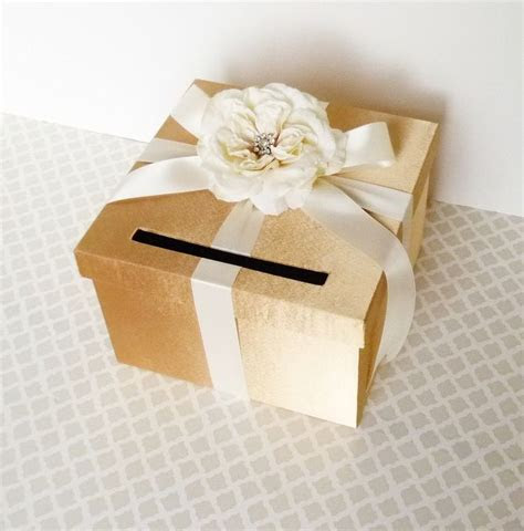 Wedding Card Box Gold Ivory Money Holder Customize in ANY