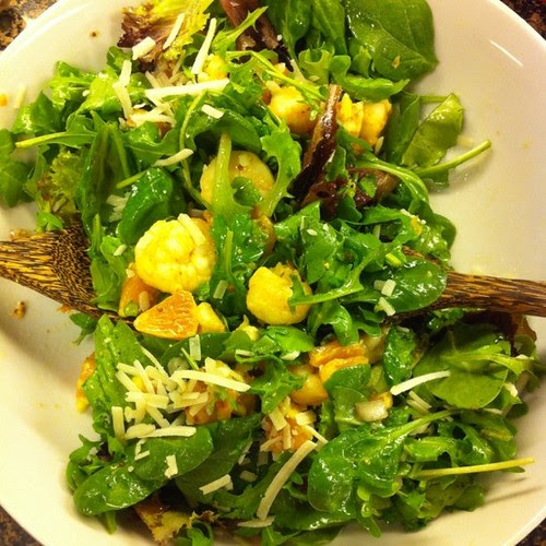 Arugula salad with blood oranges, pecorino and shrimpies