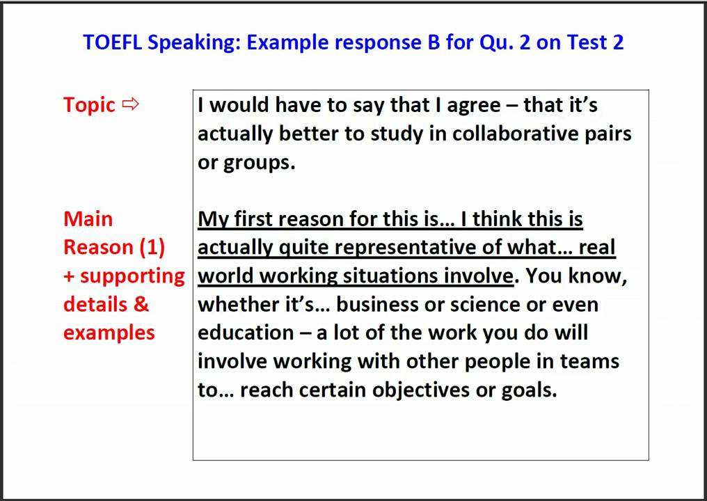 TOEFL Speaking Question 2 - Example answer with script ...