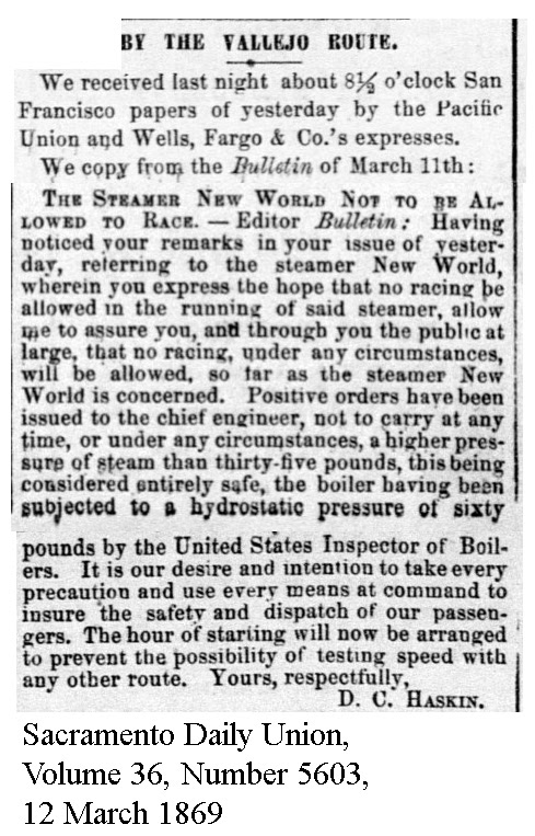 No racing for New World - Sacramento Daily Union, Volume 36, Number 5603, 12 March 1869.