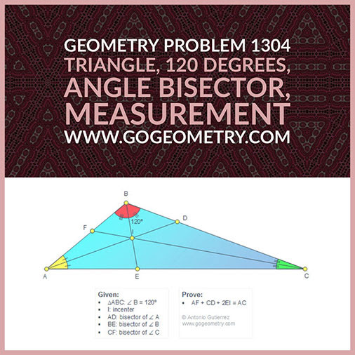 Geometric Art Typography of Geometry Problem 1304: Triangle, 120 Degrees, Angle Bisector, Incenter, Measurement, iPad Apps.