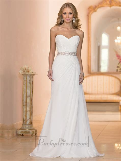 Chiffon Sheath Criss cross Sweetheart Ruched Bodice