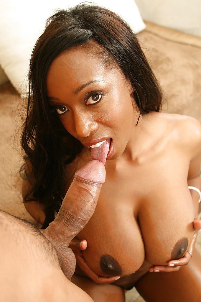 Ebony Giving Head Outside