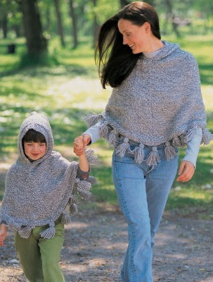 Free knitting patterns for Just Me and Mom Ponchos