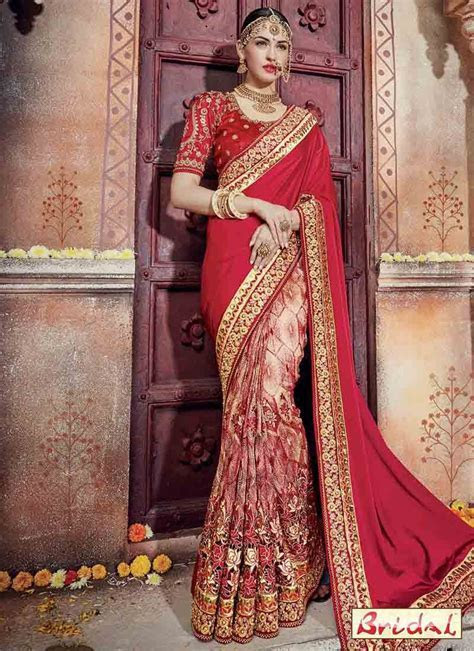 Red and golden saree design for wedding in 2018   House of
