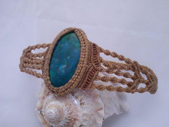 Chrysocolla MicroMacrame Bracelet by AdaArtJewelry on Etsy