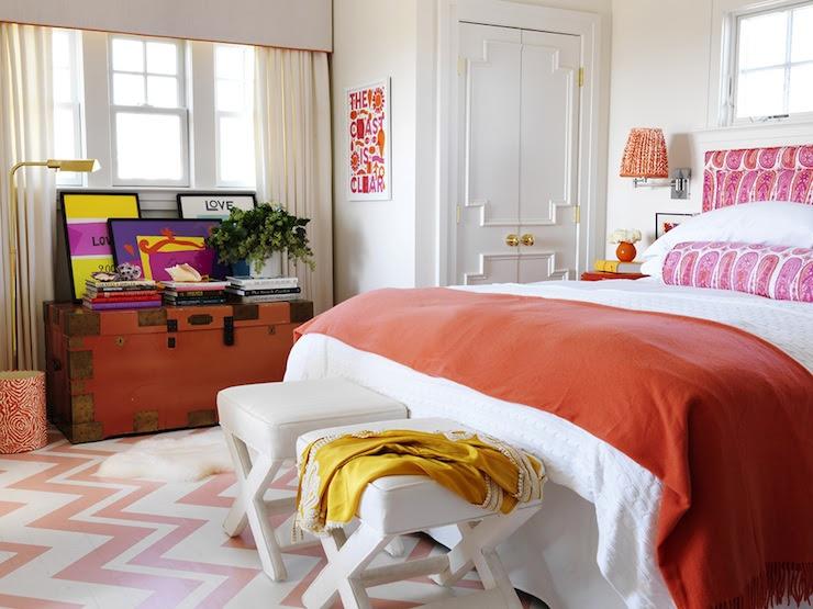 Orange Bedspread - Cottage - bedroom - Benjamin Moore Salmon Berry ...