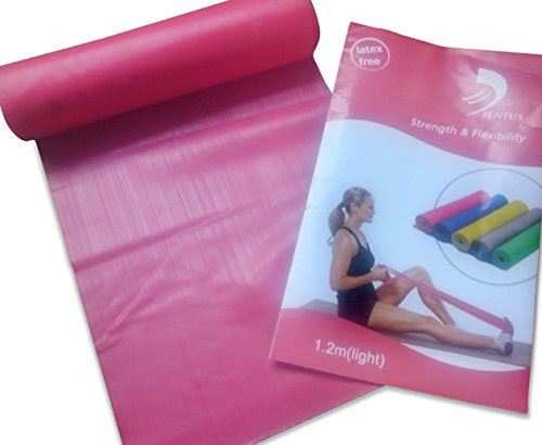 Pink Gymnastics rubber stretch band Strength & Flexibility Core Strength Training PLUS Workout Instructions