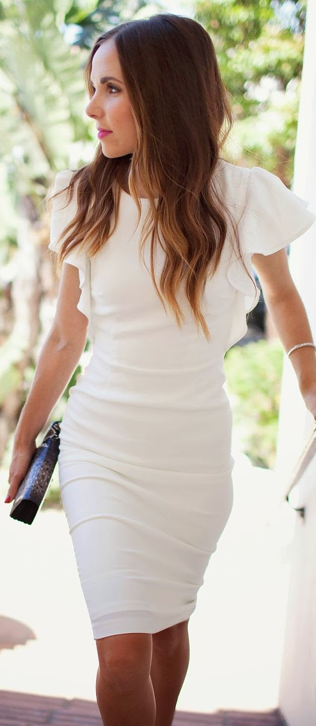 Asos White Ruffle Cap Sleeve Bodycon Midi Dress