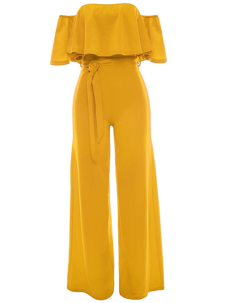Halter pocket plain wide leg jumpsuit